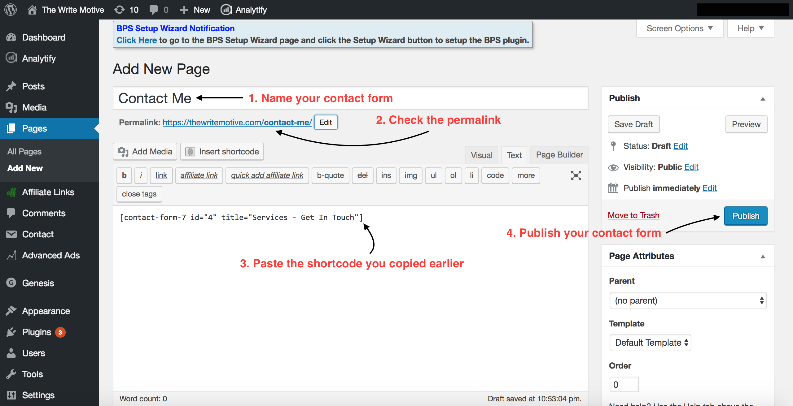 Add form to a page 2