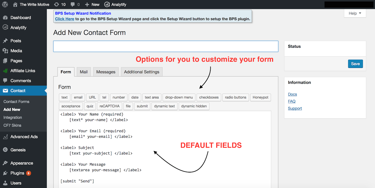 Default form fields
