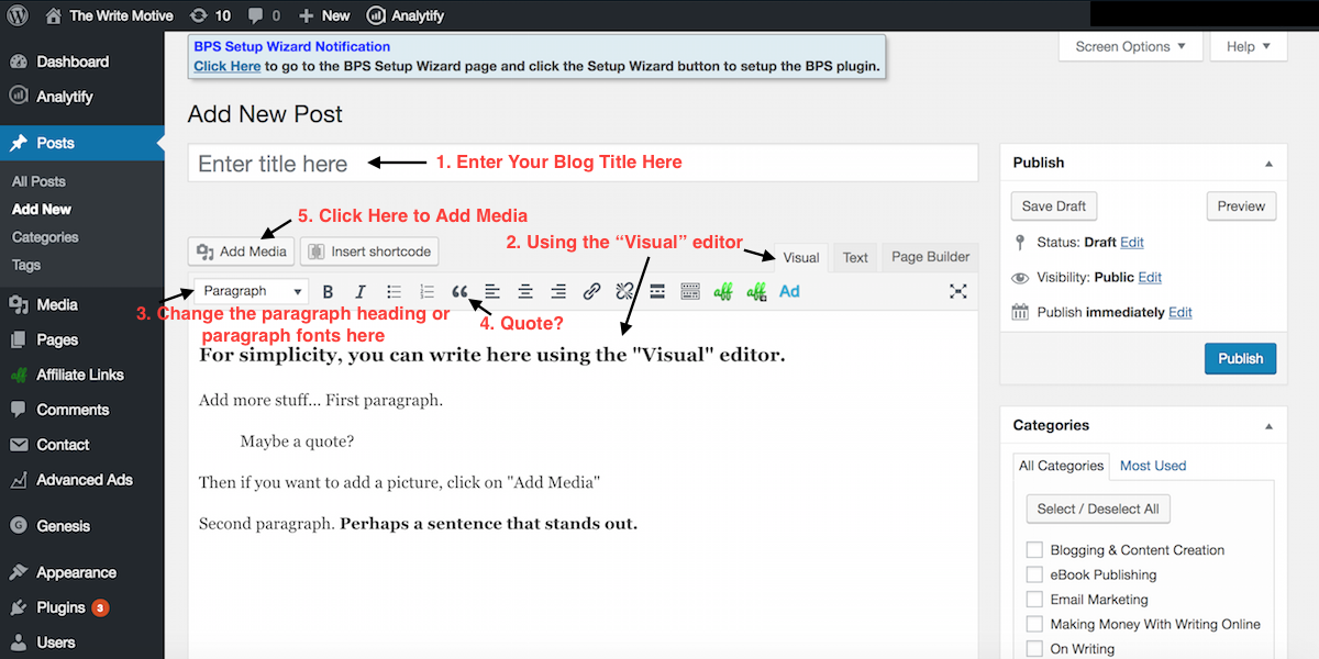 Enter Blog TItle & Using Visual Editor